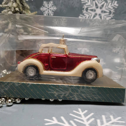 Стеклянная елочная игрушка  irena ретро пвтомобиль ирэна ирена, фото 2