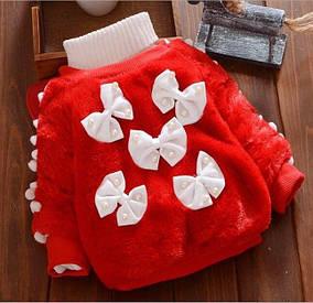 Нарядная теплая кофта для девочки на меху красная 1-4 года