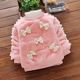 Нарядная теплая кофта для девочки на меху розовая  1-4 года