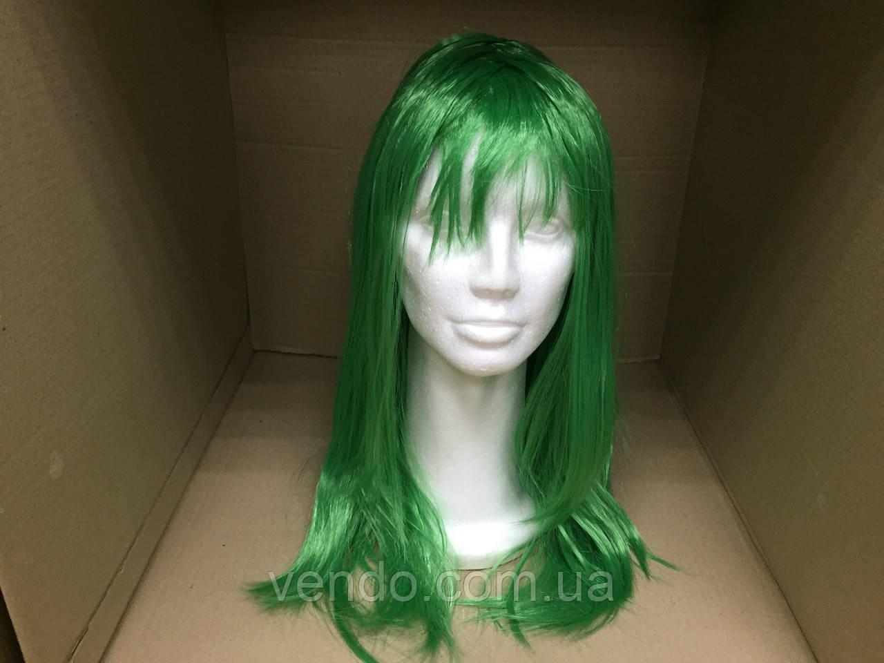 Парик длинный прямой изумрудный зеленый 56 см