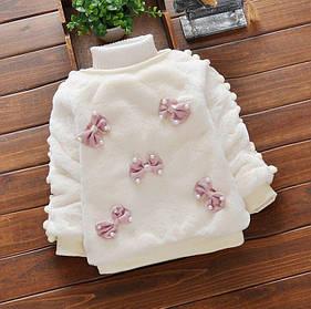 Нарядная теплая кофта для девочки на меху белая 1-4 года