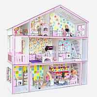 """Трехэтажный дом для барби с мебелью и текстилем """"Супер дом с секретом"""" (31 шт мебели)"""