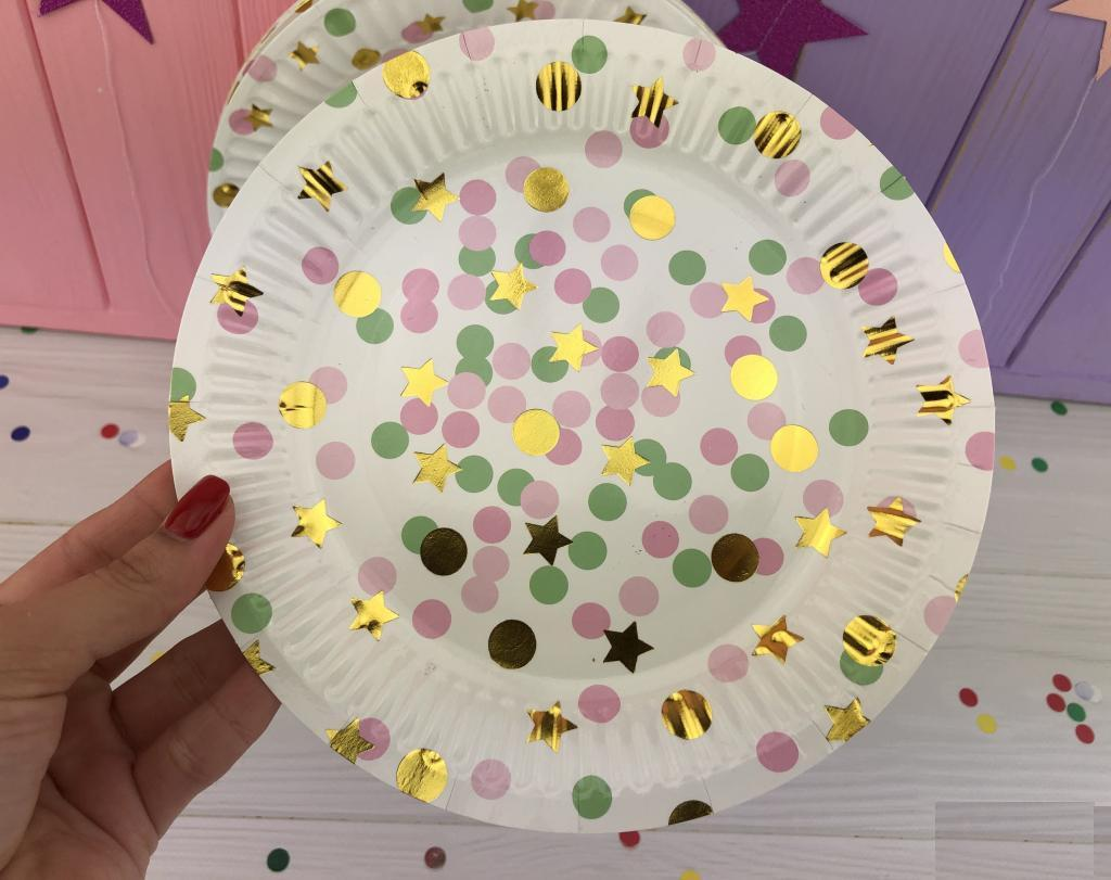 Тарелки белые с цветными пузырями 23 см, 20 шт