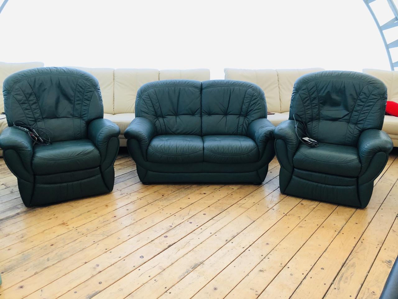 Комплект мягких кожаных диванов «3+1 Olive»