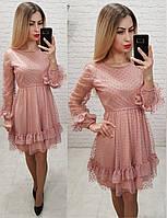 Красивое нарядное выходное вечернее платье с рассклешенной юбкой и фатином пудра персик 42/44, фото 1