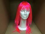 Парик  длинный ярко-розовый прямой 56 см, фото 2