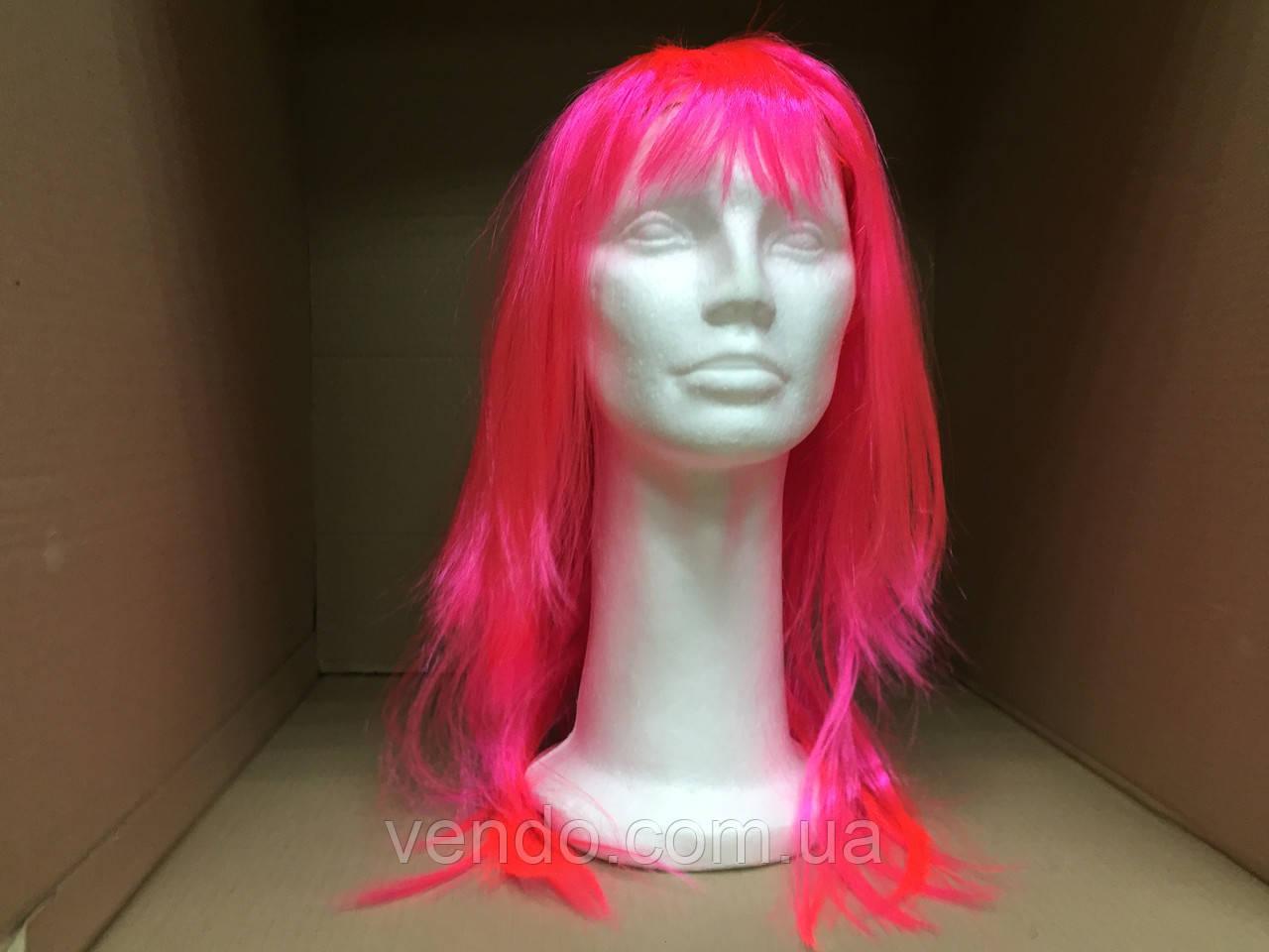 Парик  длинный ярко-розовый прямой 56 см
