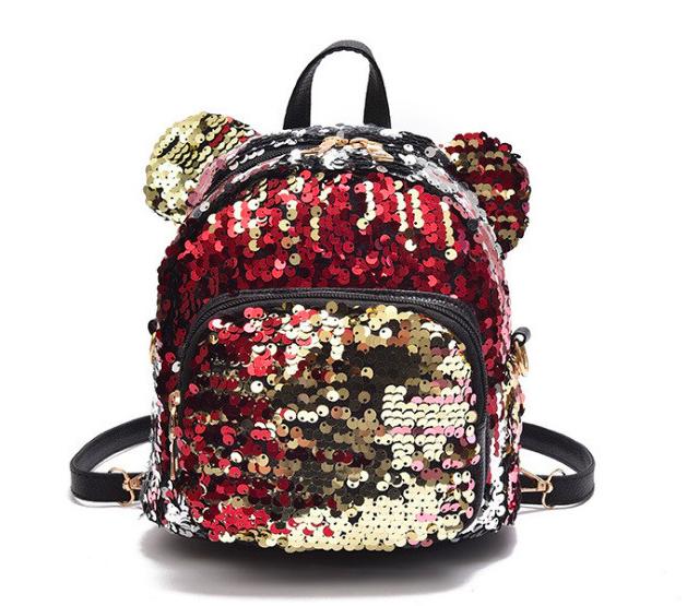 Рюкзак женский сумка мишка с пайетками Красный