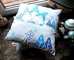 Подушка новогодняя красная с елочками 30*30 см