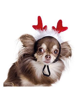 Новогодний аксессуар на голову Рожки Природа для маленьких пород собак