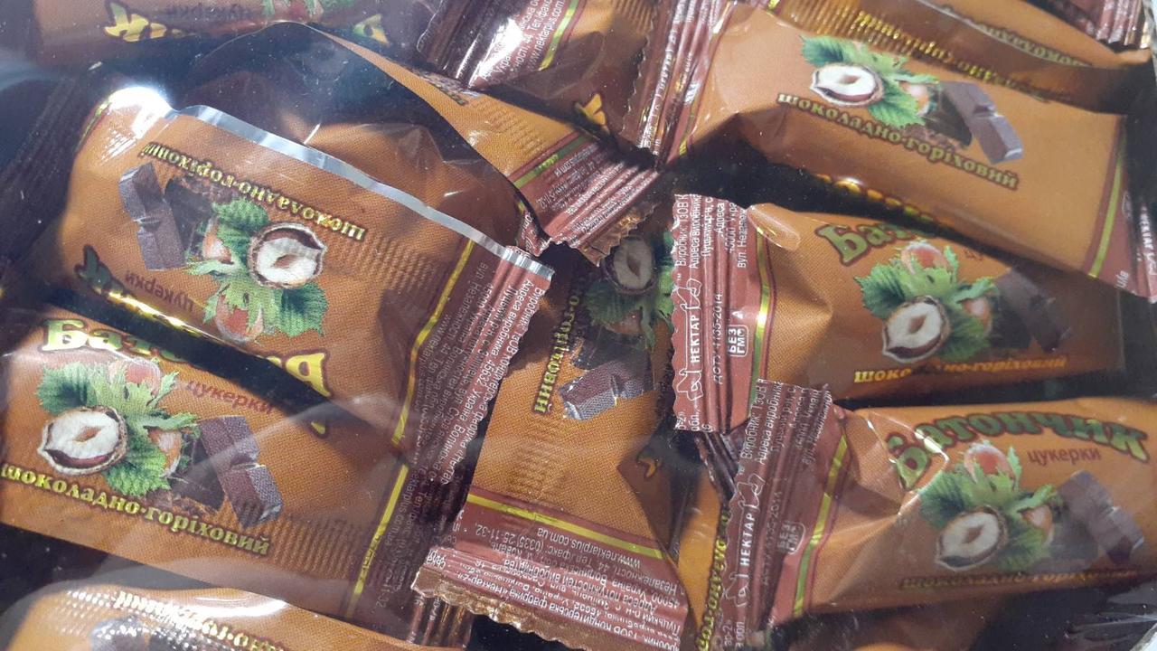 Цукерки шоколадно-горіховий батончик 300 грам