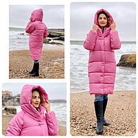 НОВИНКА! Куртка Oversize зимова, артикул 530, колір ультра рожевий, фото 1