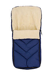 Зимний детский конверт на меху в санки коляску, синий