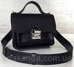 571 Сумка женская натуральная кожа черная кросс-боди с широким ремнем черная сумка женская кожаная через плечо, фото 2