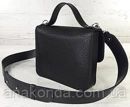 571 Сумка женская натуральная кожа черная кросс-боди с широким ремнем черная сумка женская кожаная через плечо, фото 3