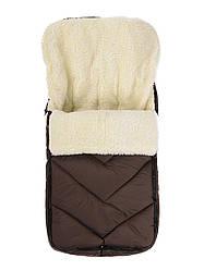 Зимний детский конверт на меху в санки коляску, т.коричневый