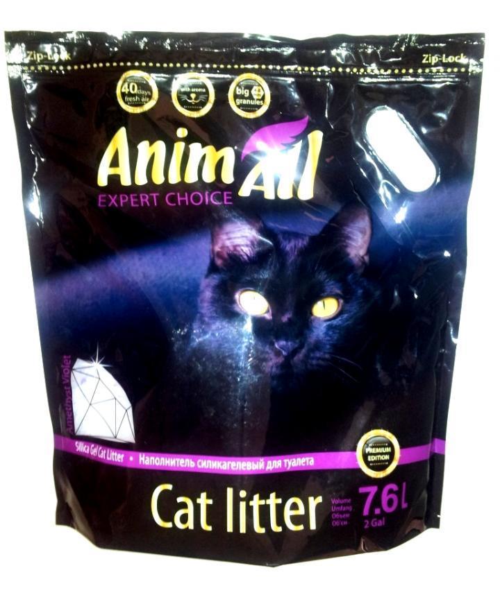 Наполнитель силикагелевый для кошек AnimAll фиолетовый аметист 7,6 л