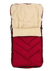Зимний детский конверт на меху в санки коляску, марсала