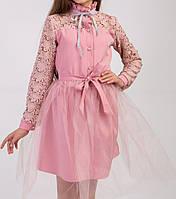 Детское нарядное элегантное платье со съёмной фатиновой юбкой Пудра
