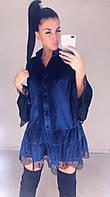 Платье женское короткое из бархата в стиле оверсайз украшеное кружевом (К29417), фото 1