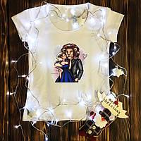Женская футболка  с принтом - Красавица и Чудовище