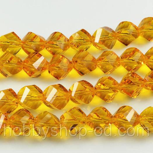 Бусины витые 6 мм медовые (84 шт) с огранкой