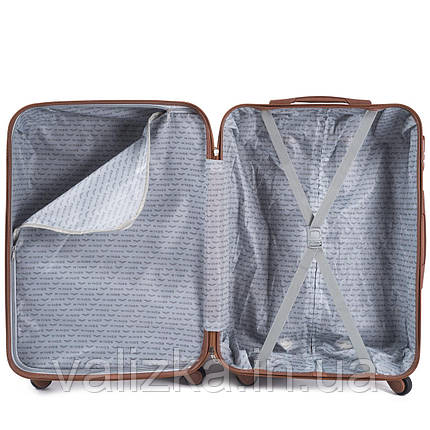 Большой чемодан из поликарбоната Wings с кофейной фурнитурой на 4-х колесах бордовый, фото 2