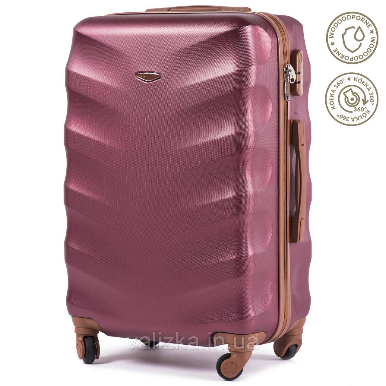 Большой чемодан из поликарбоната Wings с кофейной фурнитурой на 4-х колесах бордовый