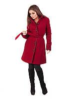 Женское зимнее теплое пальто до колен   Красное, фото 1