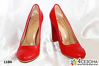 Женские туфли красные мат,на широком каблуке