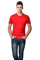 Хлопковая футболка мужская приталенная однотонная красная