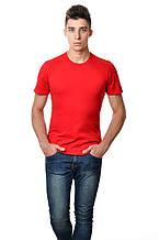 Бавовняна футболка чоловіча приталені червона однотонна