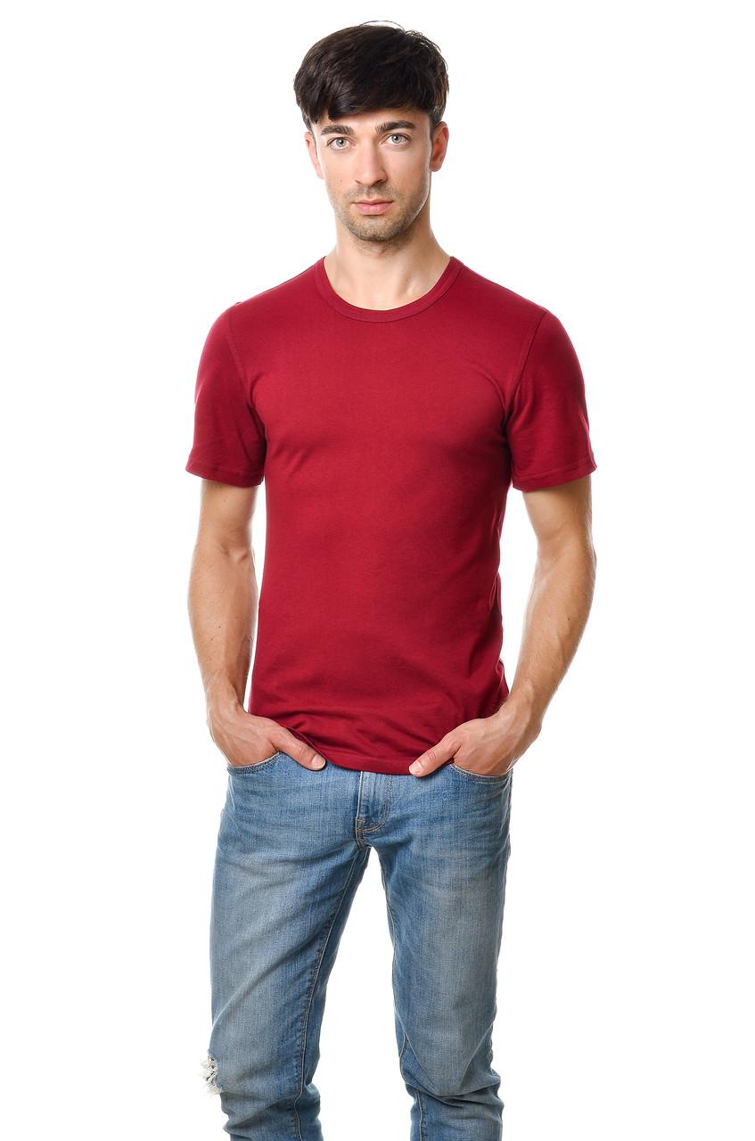 Хлопковая футболка мужская приталенная однотонная бордовая