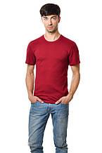 Бавовняна футболка чоловіча приталені однотонна бордова