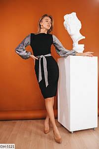 Платье DH-5121модель 368Размеры: 42-44, 46-48 Ткань :креп-дайвинг,трикотаж люрексЦвета : черныйДлина платье 100Длина рукава 59Пояс в комплете