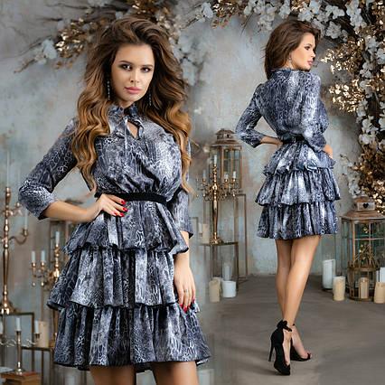 """Элегантное нарядное короткое платье 7293 """"Софт Лео Стойка Воланы"""""""