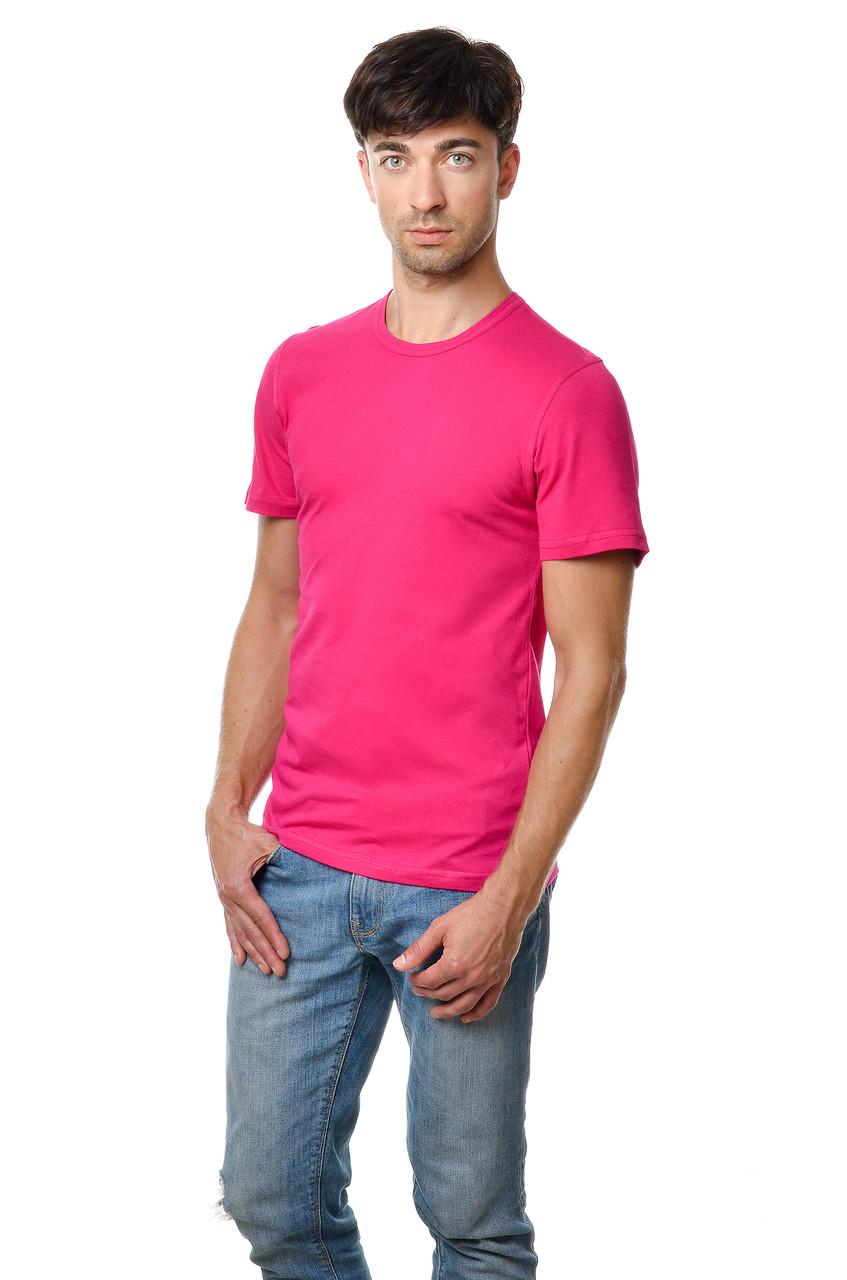 Бавовняна футболка чоловіча приталені однотонна малинова