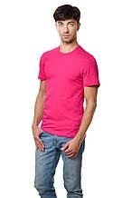 Хлопковая футболка мужская приталенная однотонная малиновая