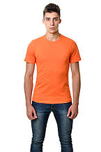 Однотонная натуральная мужская футболка Украина оранжевая