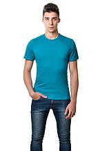 Хлопковая футболка мужская приталенная однотонная морская волна