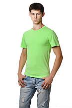 Бавовняна футболка чоловіча приталені однотонна зелений фісташковий