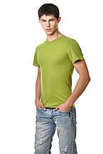 Бавовняна футболка чоловіча приталені однотонна оливкова