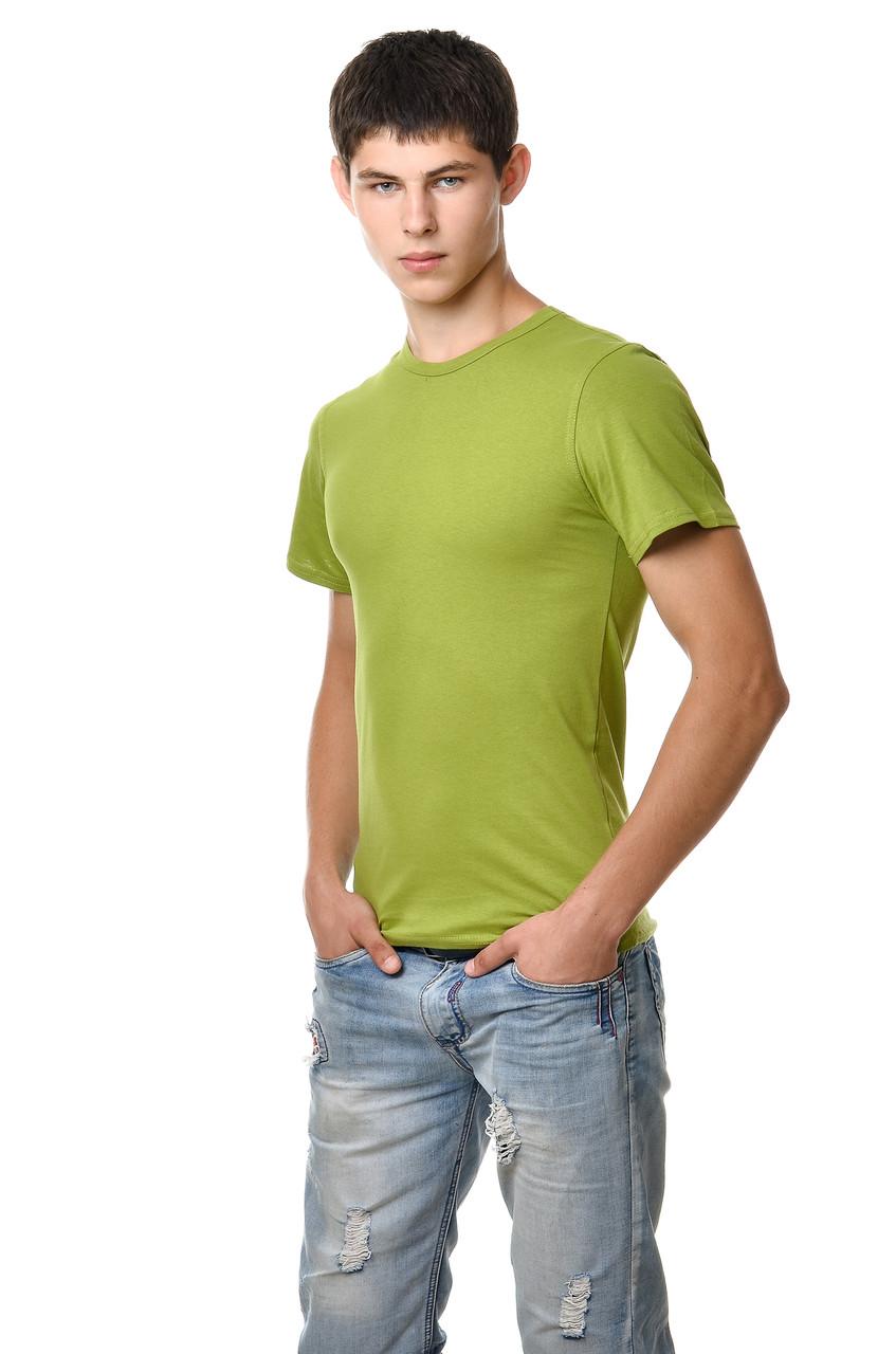 dec8c7738e82e Хлопковая футболка мужская приталенная однотонная оливковая - Модная одежда,  обувь и аксессуары интернет-магазин