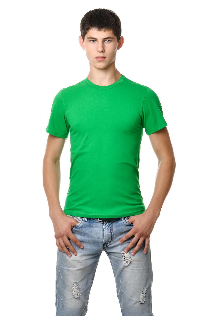 Хлопковая футболка мужская приталенная однотонная зеленая трава