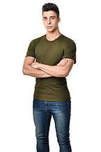 Бавовняна футболка чоловіча приталені однотонна хакі