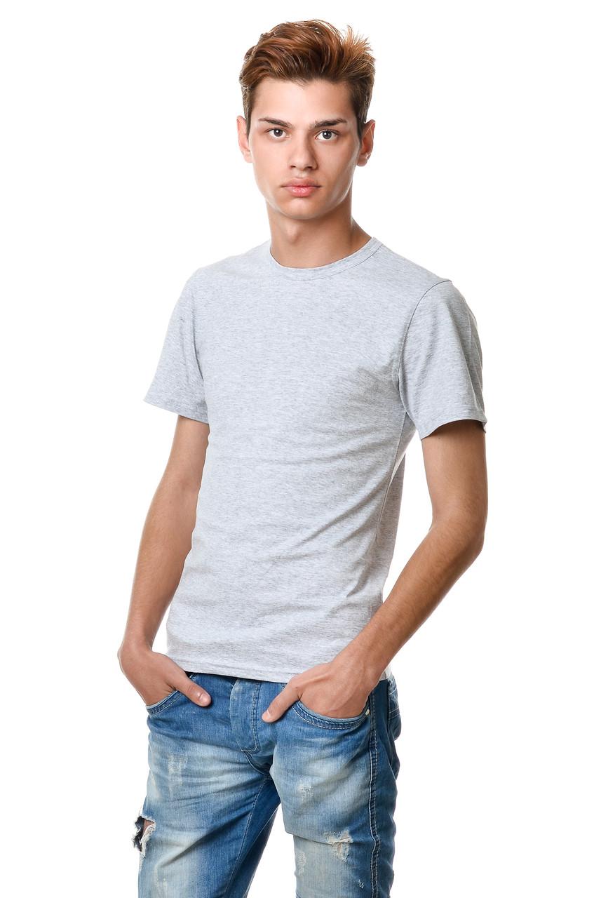 Светло-серая мужская однотонная футболка хлопковая натуральная меланж