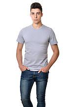Однотонная мужская футболка хлопковая натуральная серая классическая