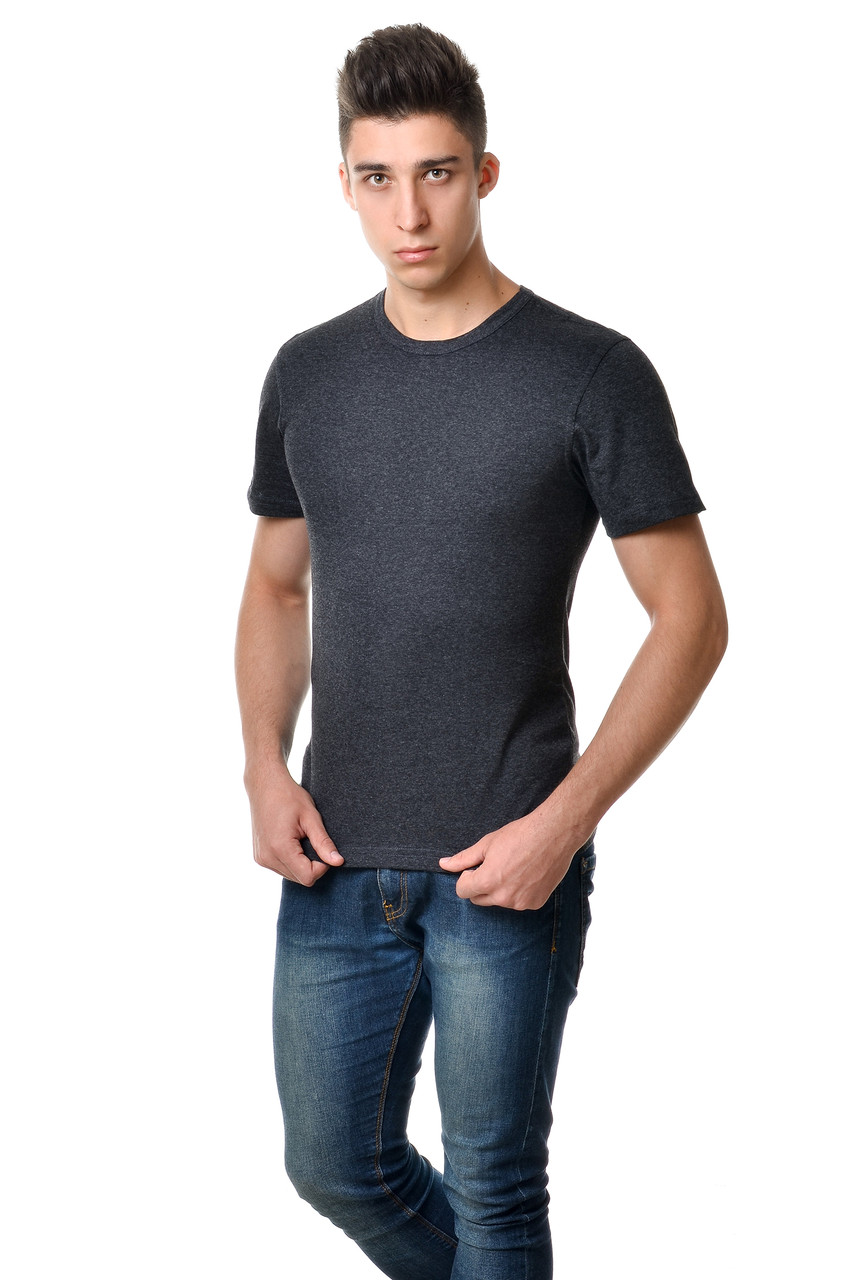 Темна однотонна чоловіча футболка бавовняна натуральна кольору антрацит