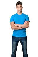 Однотонная хлопковая мужская футболка приталенная бирюзовая