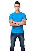 Однотонна чоловіча футболка бавовняна приталені бірюзова